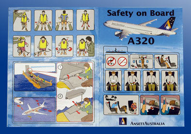 ANSETT AUSTRALIA SAFETY CARD - AIRBUS A320